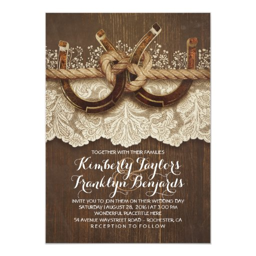 Horseshoes Lace Wood Rustic Country Wedding Invitation