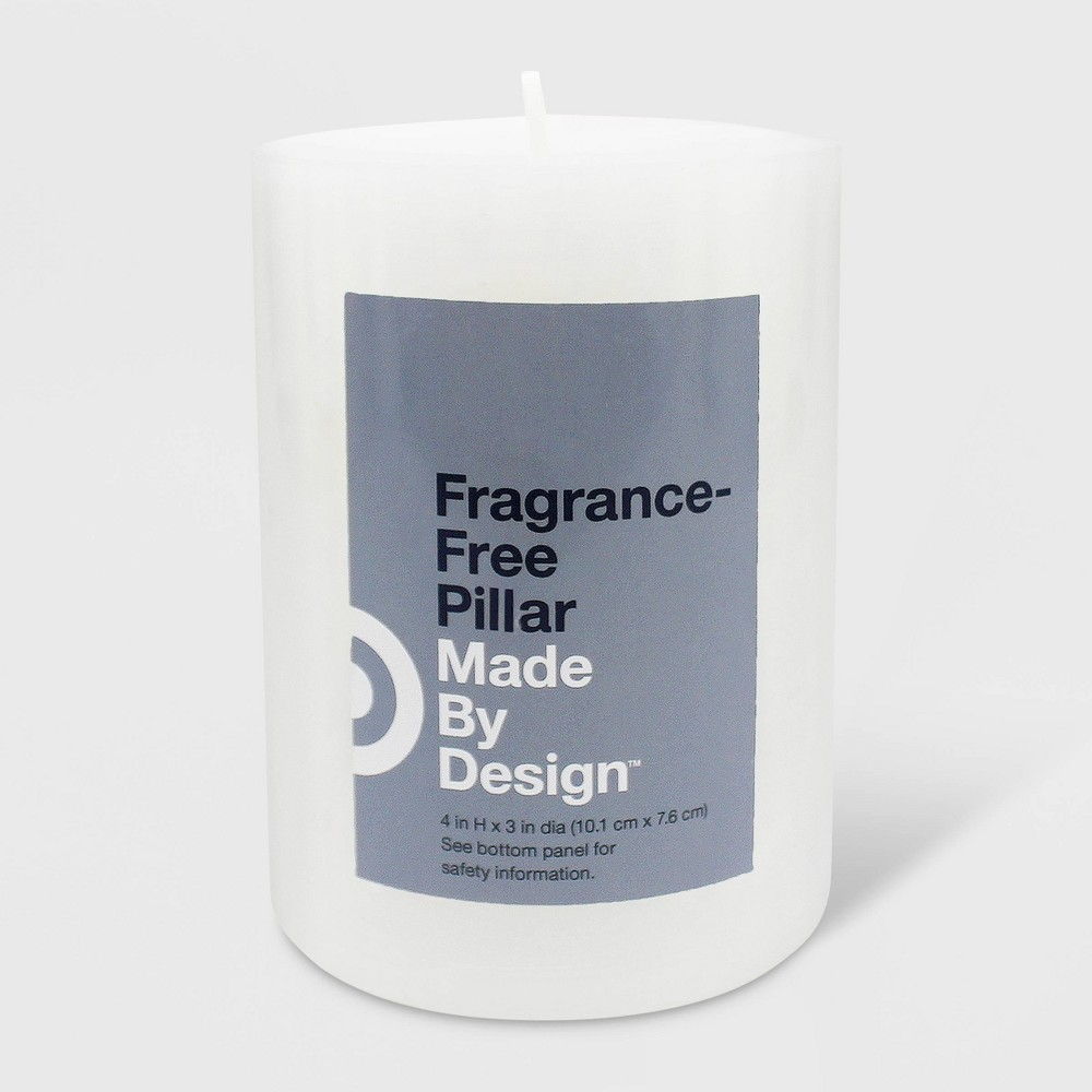 """4"""" x 3"""" Unscented Pillar Candle White - Made By Design"""