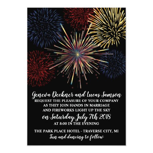 Fireworks Sky Fourth of July Wedding Invitation