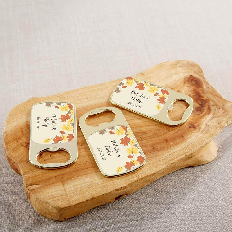 Personalized Fall Leaves Gold Bottle Opener