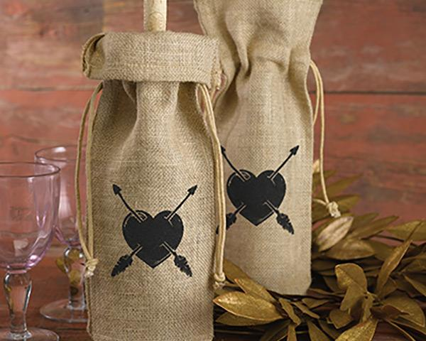 Vintage Heart & Arrow Printed Burlap Wine Bag