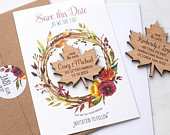 Fall Save The Date Magnet with Cards, Wedding Maple Leaf SaveTheDates, Custom Magnets, Rustic Wedding Announcement, Autumn Floral Wreath
