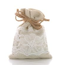 Natural/White Linen & Lace Fabric Bags - 3 X 4 - Quantity: 12 - Reusable Bags by Paper Mart