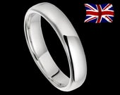 925 Real Solid Silver 2mm 3mm 4mm DShaped Wedding Band Size HT Plain Small