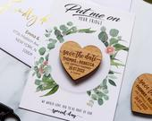 Save the Date Magnet Cards, rustic wedding wood heart with unique funny message option, custom save the dates idea with Envelope Botanical