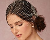 Bridal birdcage veil, wedding bridal blusher style veil, French net simple wedding veil