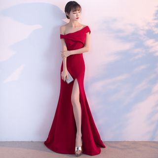 Short-Sleeve Off Shoulder Slit Mermaid / A-Line Evening Gown / Asymmetric A-Line Party Dress