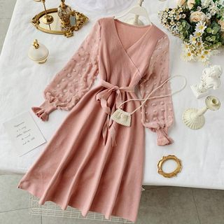 Dotted Chiffon Sleeves Tie-Waist A-Line Knit Dress