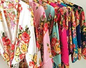 Kimono robes , bridesmaid robes personalised dressing gowns made in silk satin floral bridal robes wedding robes bridesmaid robe