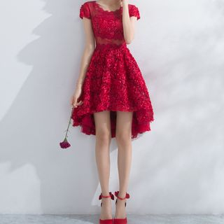 Short-Sleeve Lace Party Dress