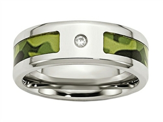 Chisel Stainless Steel Polished W/ CZ Printed Green Camo Under Rubber Weeding Band