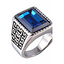 Men's Statement Ring Signet Ring Sapphire Agate Red Blue Synthetic Gemstones Agate Titanium Steel Statement Vintage Military Christmas Gifts Wedding Jewelry Solitaire Emerald Cut