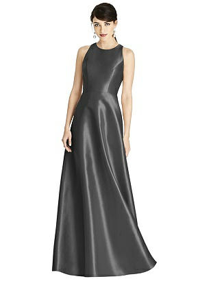 Special Order Sleeveless Open-Back Satin A-Line Dress
