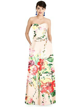 Special Order Floral Strapless A-Line Satin Dress with Pockets