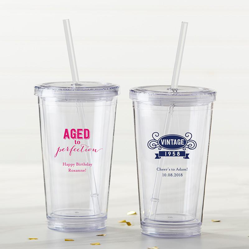 Personalized Adult Birthday Printed Acrylic Tumbler | My Wedding Favors