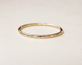 9ct Gold Ring UK Solid Recycled 9ct Yellow Gold Ring Skinny Gold Ring Thin Wedding Band Gold Stacking Ring Hammered Gold Band UK