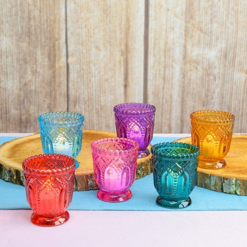 Jewel Tone Vintage Glass Votives