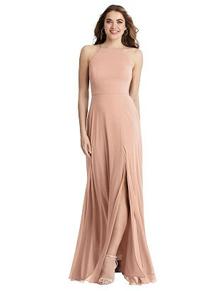 Special Order High Neck Chiffon Maxi Dress with Front Slit - Lela