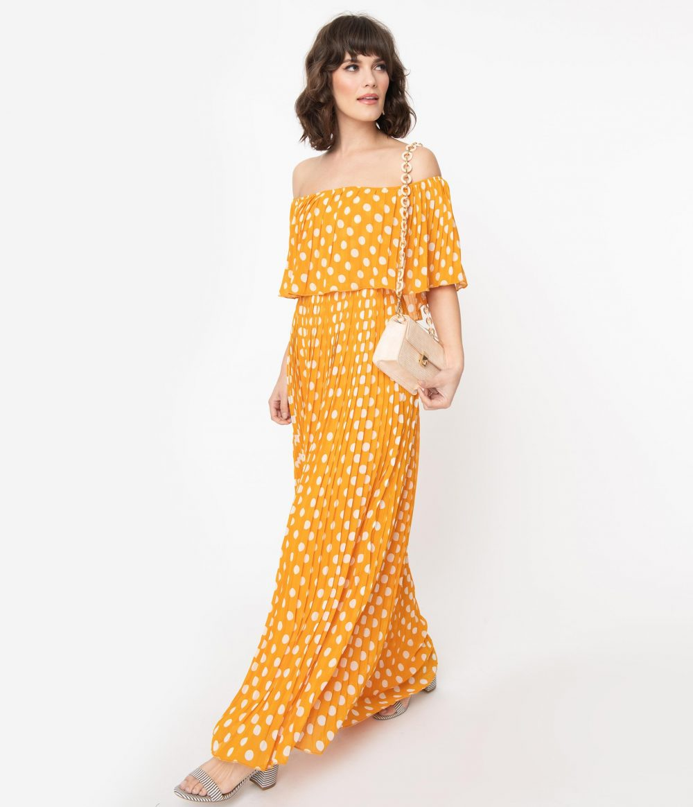 Vintage Style Marigold & Ivory Polka Dots Pleated Maxi Dress