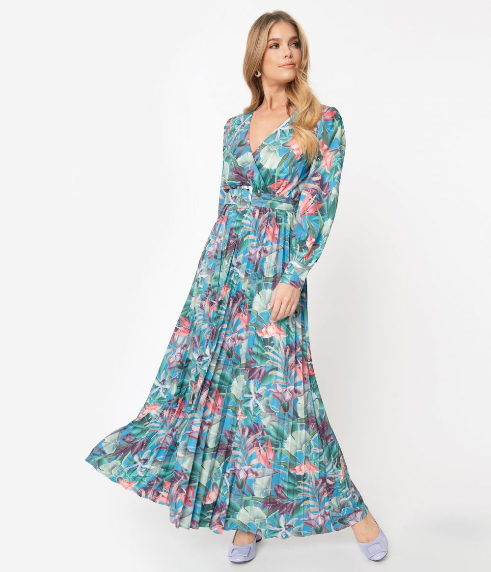 1970S Blue & Green Tropical Print Belted Maxi Dress