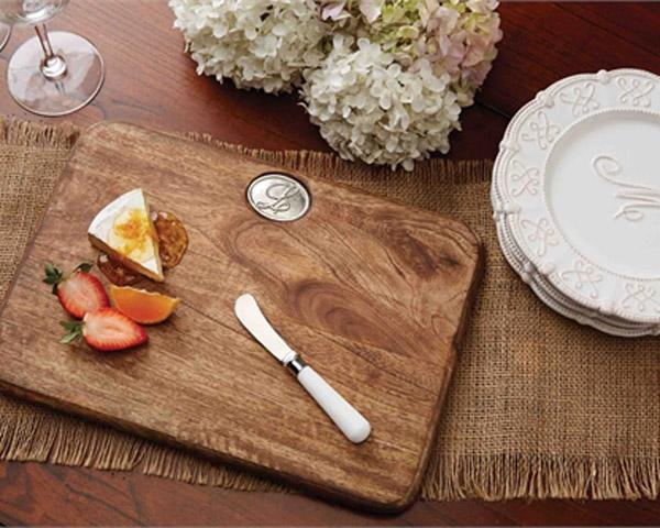 Initial Monogram Cutting Board and Spreader Set