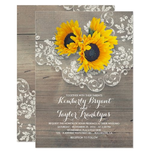 Rustic Sunflowers and Vintage Floral Lace Wedding Invitation