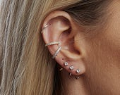 Dainty Ear Cuff, CZ hoops, earrings, huggie, cartlidge, Tiny hoops, conch, climber, sterling silver 925, rose, yellow gold bridesmaid gift