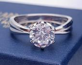 1.5ct Solid gold Moissanite solitaire ring in solid gold or platinum engagement ring