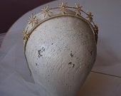 Golden Star Tiara Gold Wedding Headpiece Bridal Crown Hair Accessory Celestial Bridal Hair Accessory
