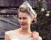 Simple Light Ivory Birdcage Veil Short Birdcage Veil 50s Style Face Veil