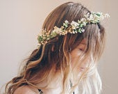 Whimsical Forest Herbs Flower Crown dried flowers, artificial leaves, Bridal Wreaths, Bridal Crowns