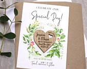 Foliage Save The Date Magnet With Cards, Custom Rustic Wedding Magnet, Personalised Wooden Heart Save The Date, Summer Garden Save The Date
