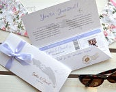 Wallet and Boarding Pass Wedding Invitation with optional RSVP handcrafted SAMPLE for travel themed and destination wedding