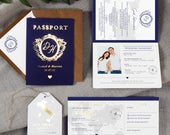 Passport Wedding Invitation, Boarding Pass RSVP, Luggage Tag, Save the Date, Destination Wedding, Travel Wedding, Plane Ticket Invite, Foil