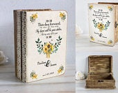 Personalized Keepsake Box Sunflowers Card Box Wooden Chest Small Wedding Card Box Custom dvice box Wood Memory Autumn box Anniversary gift