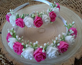 Flower girl Bridesmaid Flower girl satin headband Cerise bright pink and white,Toddler flower crown hit pink bright pink and white roses