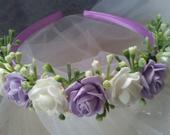 Flower girl Bridesmaid satin headband lilac and ivory,Toddler flower crown lilac and ivory roses,Lilac and ivory bridesmaid hair accessory