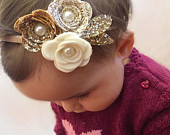 Girls hair accessories, flower headband ,gold glitter bow, wedding hair, glitter bow, cake smash prop