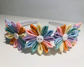 Girls Headband, Hair Accessory, Flower Headband, Rainbow, Pastel Hair Accessories, Girls Birthday Gift, Flower Girl
