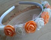 Flower girl Bridesmaid satin headband orange and white apricot and white,Toddler flower crown white and soft orange peach apricot,