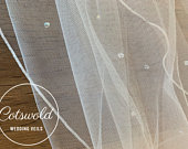 32 Genuine Swarovski Beads Bridal Wedding Veil, Corded Edge Single Layer Tulle Veil 32 inches, 82 cm Ivory Veil, Waist Length