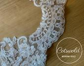 Cathedral Lace Wedding Veil, Single Layer Soft Tulle Lace Veil, 110, 110 inches, 280cm Ivory Veil, Lace Bridal Veil
