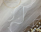 28 Pearl Wedding Veil, Pencil Edge Two Tier Soft Tulle Veil, 28 inches, 70 cm Ivory Veil, Waist Length, beautiful pearl wedding veil