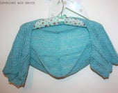 Ready to Ship FIONN Hand Knitted Ladies Cropped Lace Bolero in Scottish Shetland Wool Pale Blue Spring Summer Wedding Bride Bridesmaid KN036
