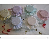 Jam jar tops DIY Wedding favour fabric jam covers twine/bands/labels PACK OF 50