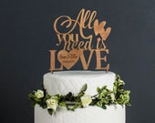 Wedding Cake Topper Personalised Heart Design All You Need is Love Mr Mrs Keepsake Table Decoration Personalized Wedding Favor