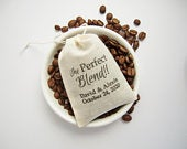 The Perfect Blend, Cotton Drawstring Favor Bags, diy Personalized Coffee Gifts