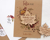 Kraft Save The Date Magnet with Cards, Autumn Fall Wedding Maple Leaf SaveTheDates, Custom Wedding Magnet, Floral Rustic Announcement