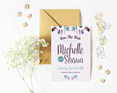 Floral save the date cards, floral wedding stationery, elegant save the date, save the day, pencil us in, wedding, wedding invites, floral