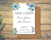 Personalised Rustic Blue Turquoise Floral Wedding Save the Date Cards